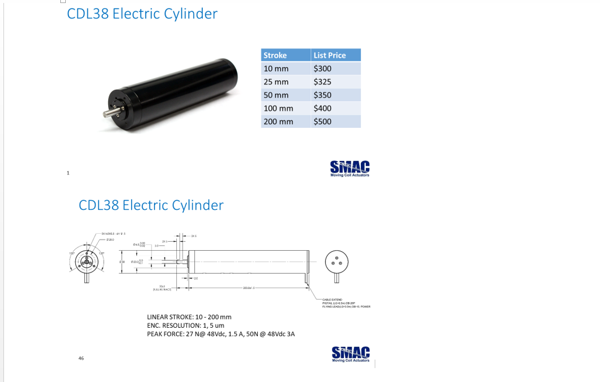 SMAC CDL38 Electric Cylinder
